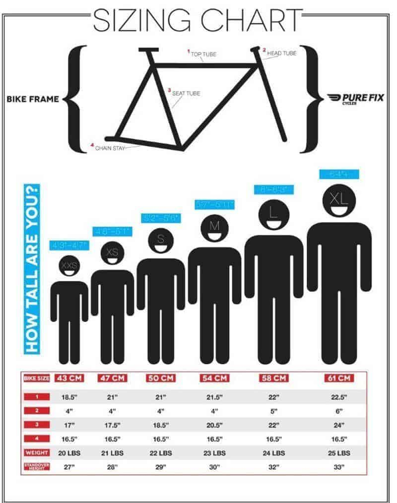 mountain road bike size chart