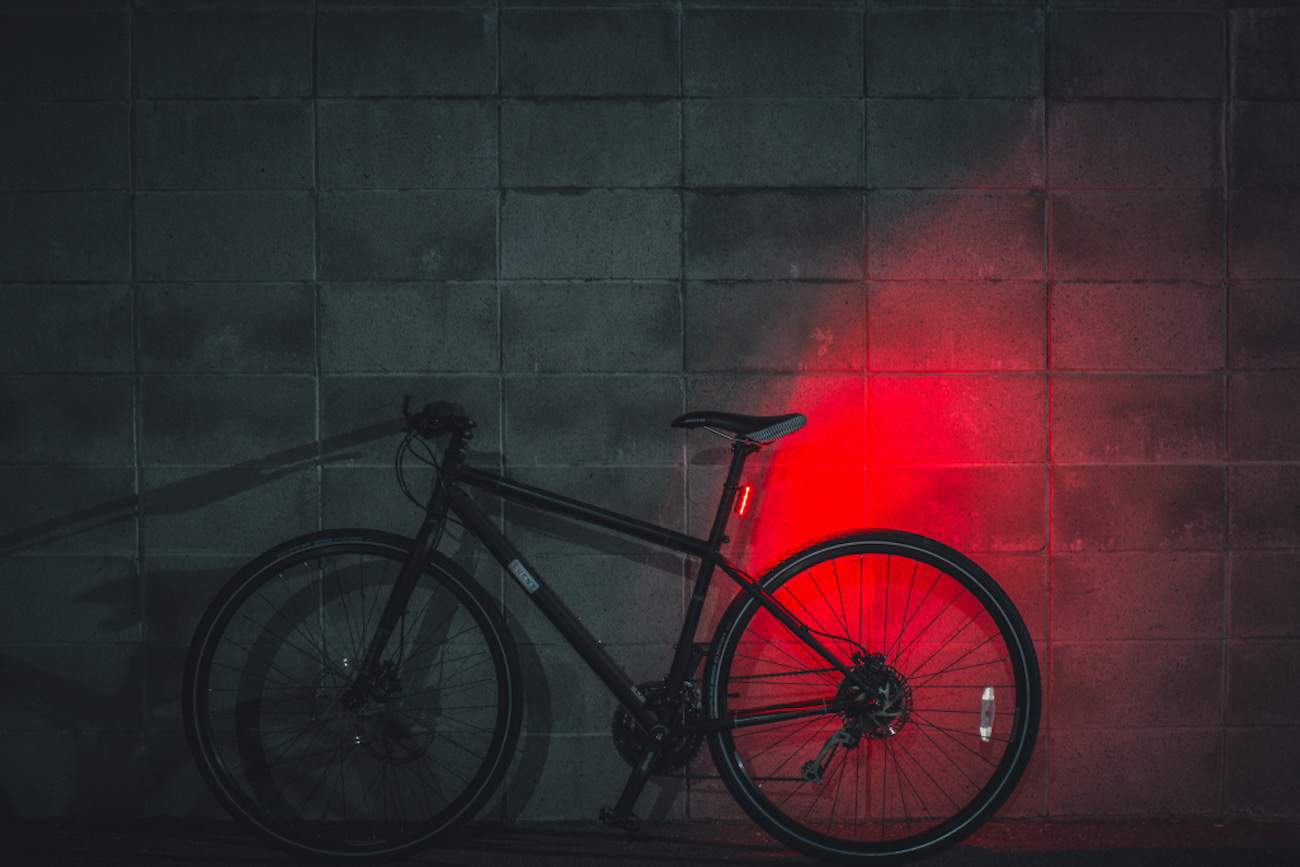 bike with taillight on